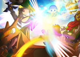 Super Smash Bros. - Villager Kicking A$$ by morganobrienart