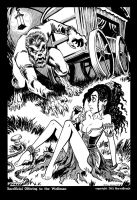 Sacrificial Offering to the Wolfman, B and W by BryanBaugh
