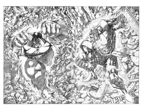 Juggernaut/Colossus doublespread commission by jgalino