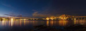 The Forth Bridges at night by Graid