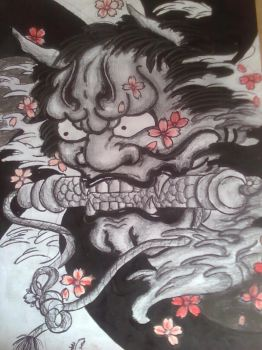 Hannya in balck and grey by micapaiting