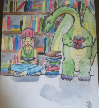 Dragon in the Library Watercolor by kwalart