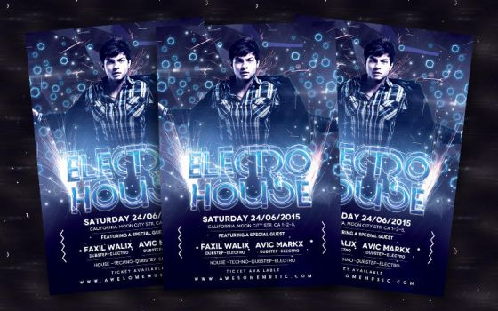 Electro House Flyer by bl4ckocreation