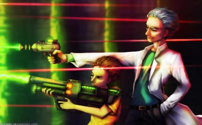 Another Casual Gunfight (Rick and Morty Fanart) by Neytirix