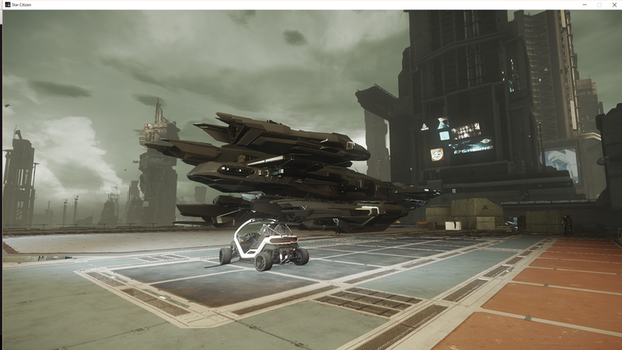 Star Citizen: Constellation landing pad rear view by Troythecat2354