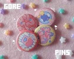 Pastel Gore Pin Buttons for sale on Etsy! by Kaiidumb