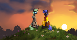 Evening changelings (commission) by Twotail813