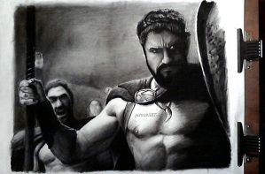 300 Drawing - Leonidas by AlexMiK