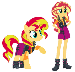 Sunset Shimmer avec ses vetements humain by Nyanlasc