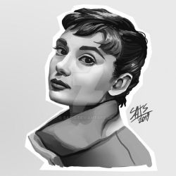 Audrey -black and white by sat-s