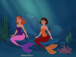 Daphne and Velma as Mermaids by Jayko-15