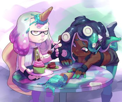 Splatfest Cake Ice Cream by stupjam