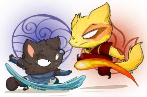 Dazzle 'n Peal Commission- Water vs. Fire by kidbrainer