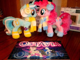 Octavia Jigsaw Puzzle With Lyra N Pinkie Plushies by PoNyePiC