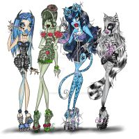 Ghouls Night Out Vertae,Liana,Satin and Crafty by Peanutso-BuTTer