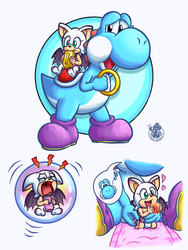 [YI x bS] Light blue Yoshi and baby Rouge by Music-Yoshi-Z