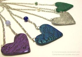 Heart Necklaces by CantankerousCupcake