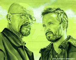 Walter White and Jesse Pinkman by KellyEddington