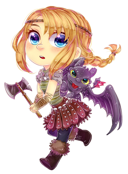 Commission : Chibi Astrid and Toothless by ibahibut