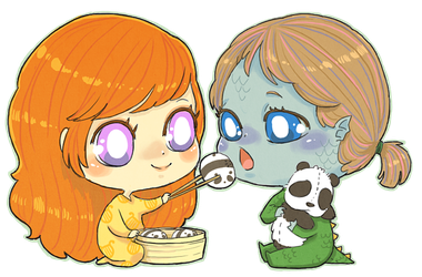 Chibi Saoirse and Andala by MiniLeiProductions