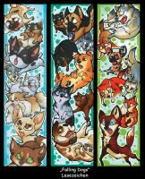Falling Dogs Bookmarks by ChershireHatter