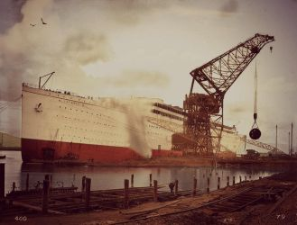 Launch of Lady Olympic by RMS-OLYMPIC