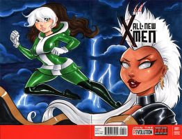 Rogue and Storm X-Men Cover by dsoloud