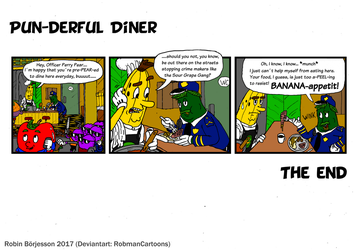 The Yellow Banana comic: A Pun-derful Diner (2017) by RobmanCartoons
