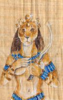 Sekhmet On Papyrus by Hbruton