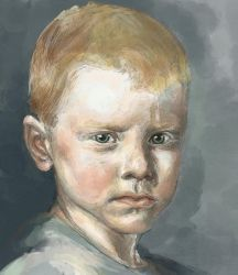 WIP Portrait Painting, study of a young boy by Dkelabirath