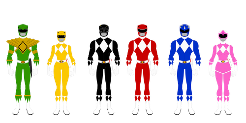 Mighty Morphin Power Rangers (Season 1 team) by Bhrunno