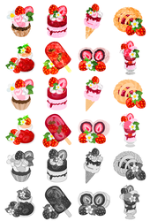 Icons of strawberry sweets by atelier-bw