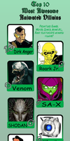 My personal Top Ten Awesome Villains Meme by ViktorMatiesen
