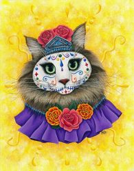 Day of the Dead Cat Princess by tigerpixieart