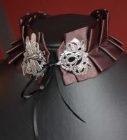 Chocolate dragonfly collar by Pinkabsinthe