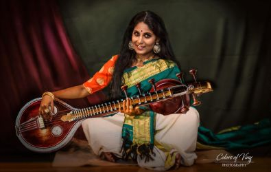 Lady with Veena by vinigal123