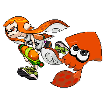 (Splatoon) Inkling Girl and Squid by Banditmax201