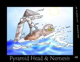 PYRAMID HEAD and NEMESIS by macawnivore