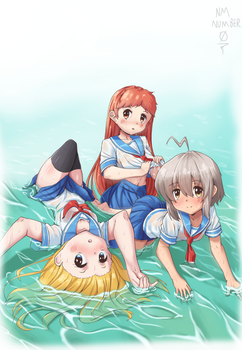 school girls in the water by nmnumberzero