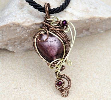 Purple heart wire wrapped pendand by IanirasArtifacts