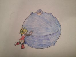 pc: roll hugging inflated megaman by Vivere-Sectam