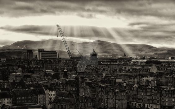 Sky Fall over Edinburgh - Scotland - by Brainbarbie