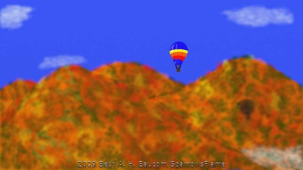 Hot Air Balloon Over Mountains by SparrowsFlame