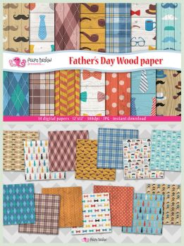 Father's Day Wood digital paper by PolpoDesign