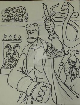 Oct 27 - Hellboy Mignola by Paul-A-Newman