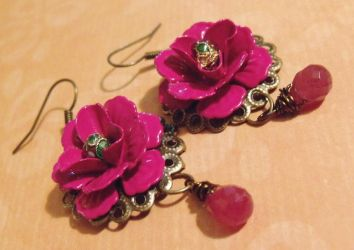 Spanish Rose earrings by TheBrassGlass