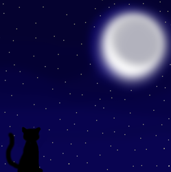 Kitty and the Moon by mezfish