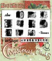 MixedMedia Vintage Christmas Masks No1 by Diamara