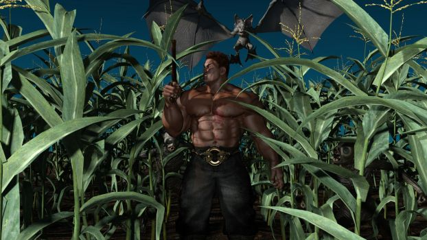 Monsterhunter in cornfield by Catweazle01