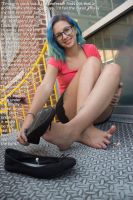 Classmates Underfoot In Her Smelly Flats by youranus32